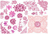 Pink decorated floral elements collection — Stock Vector