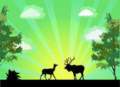 Two deers between trees at sunrise — Stock Vector