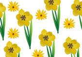 Ilustración de fondo de tulipanes amarillos — Vector de stock