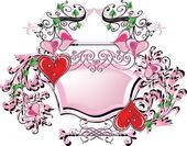 Marco rosa y corazones rojos sobre fondo blanco — Vector de stock