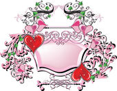 Pink frame and red hearts on white — Stock Vector