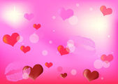 Pink lipsticks and hearts background — Stock Vector