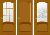 Three wood doors isolated on white — Stock Vector