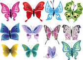 Twelve beautifull butterflies isolated on white — Stock Vector