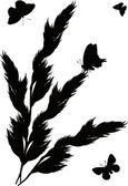 Zwarte gras en vlinders op wit — Stockvector