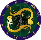 Dragons and zodiac symbols illustration — Stock Vector