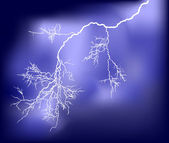 Illustration with lightning in dark blue sky — Stock Vector