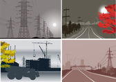 Four industrial landscapes collection — Stock Vector