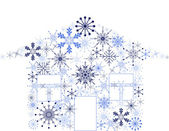蓝色雪花房子上白色隔离 — 图库矢量图片