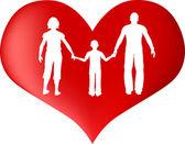 Rotes Herz mit Familie silhouette — Stockvektor