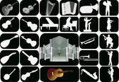 Set of music instruments isolated on black — Stock Vector