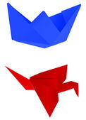 Paper blue ship and red crane — Stock Vector
