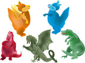 Set of five dragons on white — Stock Vector