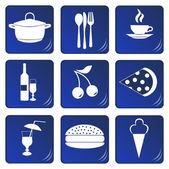 食品和饮料相关的蓝色图标 — 图库矢量图片