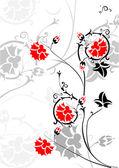Rizos con flores de color rojas brillante — Vector de stock