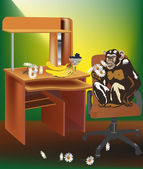 Scimmia con fiori in sedia da ufficio — Vettoriale Stock