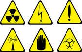 套上白色隔离的六个警告图标 — 图库矢量图片