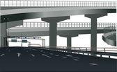 Autoroute moderne isolé sur blanc — Vecteur