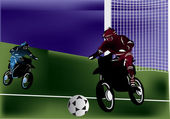 Men playing motorball illustration — Stockvector