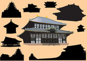 Set of isolated pagodas — Stock Vector