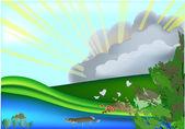 川で魚とイラスト — ストックベクタ