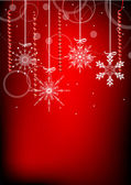 White snowflakes and red confetti — Stock Vector