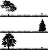 Three black trees in grass — ストックベクタ