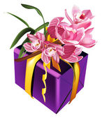 Present and pink orchids — Stock Vector