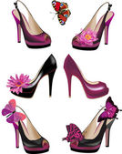 Set of shoes with flowers and butterflies — Stock Vector