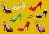 Set of woman shoes on yellow — Stock Vector