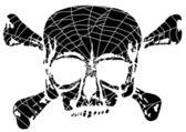 Skull and bones in spider web — Stock Vector