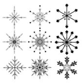 Set of nine black snowflakes — Stock Vector