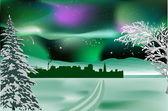 Snow road to winter city — Stock Vector