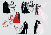 Set of six wedding couples — Stock Vector