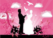 Wedding couple silhouette and doves on pink — Stock Vector