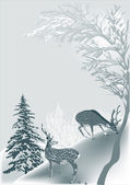 Grey winter illustration with two deers — Stock Vector