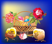 Chickens and basket with egges — Cтоковый вектор