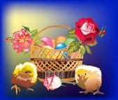 Pollos y una cesta con fondues — Vector de stock