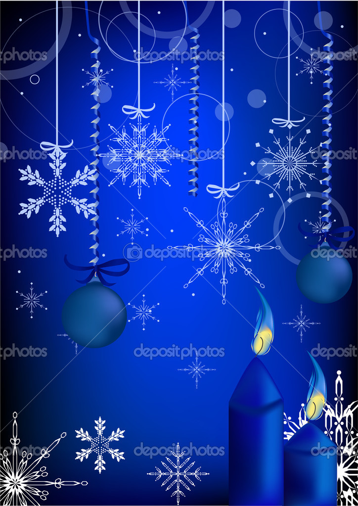 Blue christmas illustration with snowflakes and Christmas tree decorations — Stock Vector #8544056