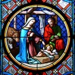 Nativity Scene. Stained glass window in the Basel Cathedral. — Stok fotoğraf #8299803