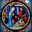 Nativity Scene. Stained glass window in the Basel Cathedral. — Stock Photo #8299803