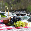 Red wine, cheese and grapes served at a picnic. Verzasca valley, — Stock Photo
