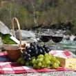 Royalty-Free Stock Photo: Red wine, cheese and grapes served at a picnic. Verzasca valley,