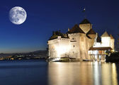 Chillion castle at night. Geneva lake, Switzerland — Stock Photo