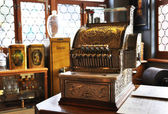 Vintage cash register in an old pharmacy — Stock Photo