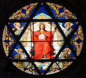 Stained glass window. Cathedral of BAsel, Switzerland — Stock Photo