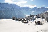 Braunwald, słynnej szwajcarskiej ośrodek narciarski — Zdjęcie stockowe