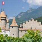Chateau d'Aigle among vineyards. Switzerland — Stock Photo #8300239