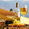 Wine, grapes and cheese against vineyards in Lavaux region, Swit — Stock Photo