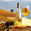 Wine, grapes and cheese against vineyards in Lavaux region, Swit — Stock Photo #8300552